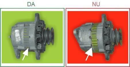 Alternatoarele cu pozitia carcasei incorecta nu sunt acceptate ca piese la schimb