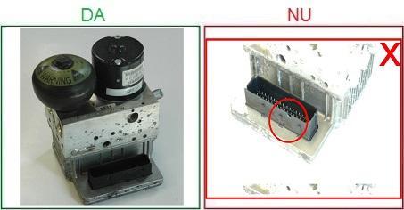 Centralele ABS cu conectorul deteriorat nu sunt acceptate ca piese la schimb