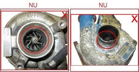 Turbosuflantele cu flansele sau ventilatoarele deteriorate nu sunt acceptate ca piese la schimb